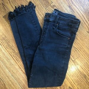 High-waisted Distressed Black Skinny Jeans